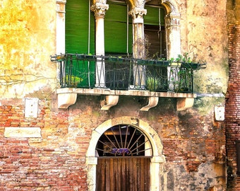 Venice Italy Photo, Gothic Style Windows, Distressed Building, Rustic Door, Yellow And Rust Colors, Venice Travel, Wall Decor