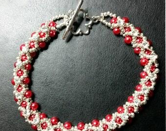 Handmade Valentines Gift Red/Rhinestone Bracelet
