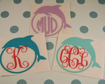 Dolphin Monogram Decal, Yeti Decal, MacBook Decal, Nautical Decal, Beach Decal, Dolphin, Monogram Decal, Car Decal, Summer Decal