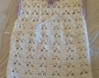Newborn white crochet dress