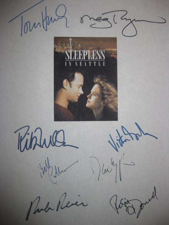 Sleepless in Seattle Signed Film Movie Script Screenplay X8 Autograph Tom Hanks Meg Ryan Rita Wilson Rosie O'Donnell Bill Pullman Rob Reiner