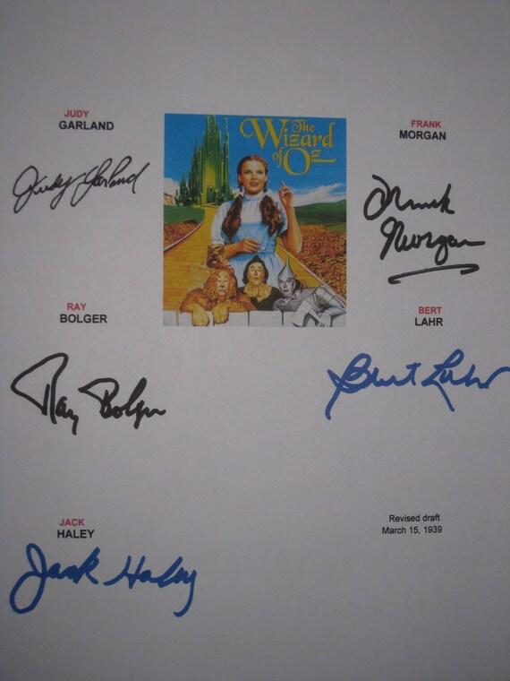 The Wizard of Oz Signed Film Movie Script Screenplay Autographs Ray Bolger Bert Lahr Judy Garland Frank Morgan Jack Haley Signatures Classic