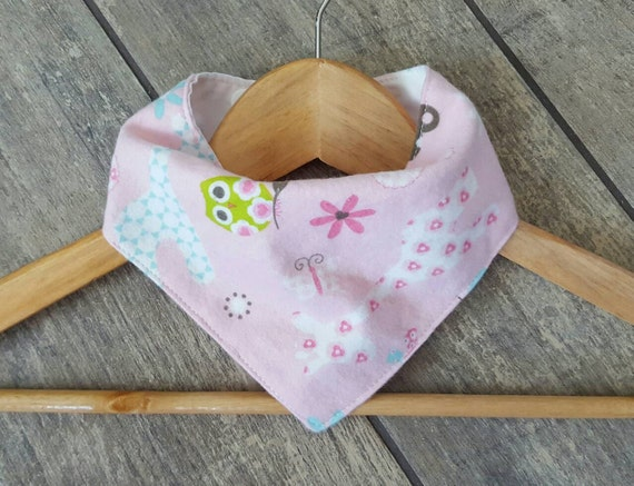 Handmade bandana drool bib - LIMITED EDITION - girly animal print cotton flannel with white cotton - baby accessories