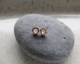 """rose gold  chunky hexagon """"nut"""" earrings, hexagon earrings, christmas gifts, last minute gifts, secret santa, gifts for coworkers,"""