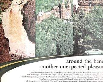 1960s Wisconsin travel vintage magazine ad something new just around the bend