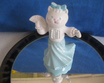 VINTAGE Pink and Pretty Collectible Avon Kitty Cat dressed in fancy blue dress.