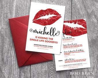 Kissing Single Life Goodbye Bachelorette Invitation | Printable Invitation | Bachelorette Party | Weekend party| Red Lips