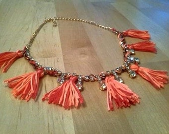 Necklace Valentine crystals and tassels