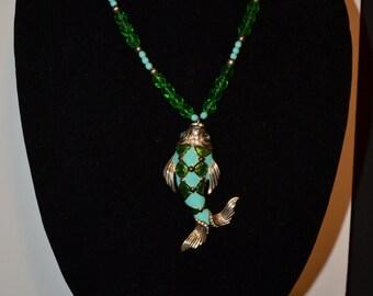 Green enamel fish pendant  (#23)