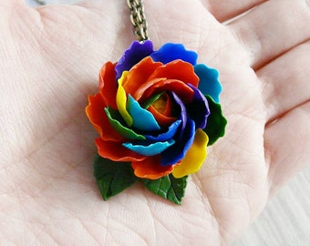 Rainbow peony necklace pendant  handmade, polymer clay peony, flower set, realistic flower, peony necklace, rainbow jewelry