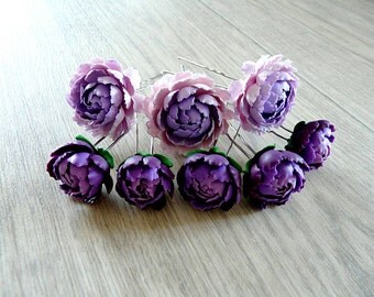Peony hairpin, peony jewelry, purple peony, handmade peony, realistic hair flowers, weddind flower, weddind jewelry, weddind peony.