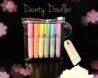 Cute Mini Rainbow Highlighters - Set of 6 / Spots and Stripes / Stationery / Office / Revision / School / Student / Teacher / Gift