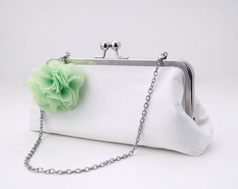 "Bridal bags silk ""Yes with green flower"""