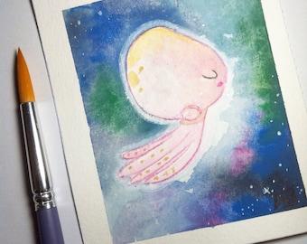 Small original watercolor - illustration - painting - jellyfish - The Jellyfish: Swim Mood