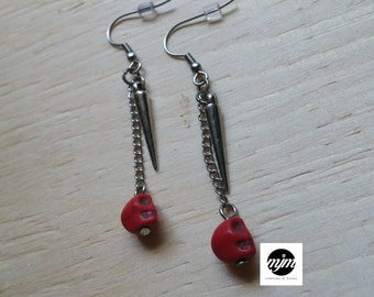 Earrings, skulls, red, turquoise, hypoallergenic,young women,women,teenager,jewelry