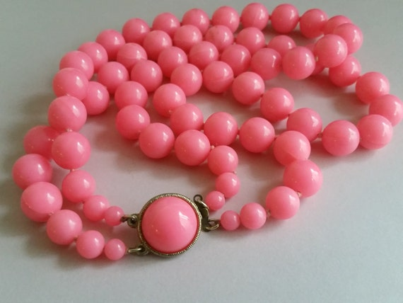 Bubblegum Pink Multi Strand Necklace - Vintage 1960's Necklace - Mod Retro Multi-Strand Beaded Necklace | Hot Pink Double Strand