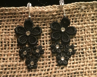 Floral Venise Lace Earrings with Swarovski Crystals