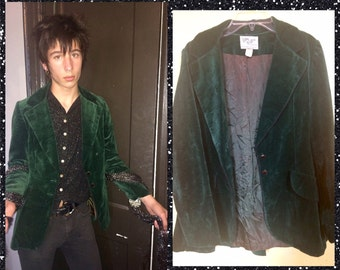 Vintage green velvet blazer