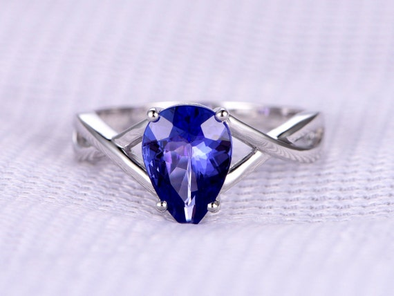 1.83ct Natural Tanzanite Engagement ring,Solitaire Promise ring,14k White Plain gold,Blue Stone Wedding Band,Personalized for her/him,Custom