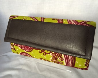 Green and Wine African Print Clutch Bag