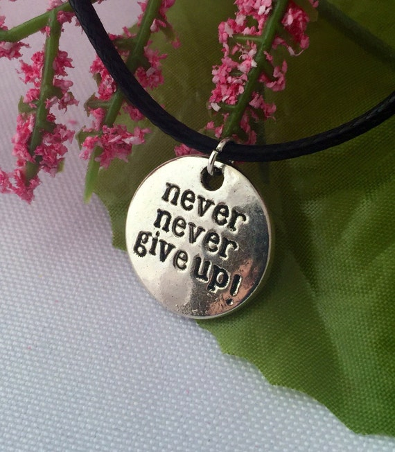 Running Jewelry, CrossFit Gifts, Runner Coach Team Gifts, Pendant Marathon Charms, NEVER GIVE UP Necklace, Athlete Race Swag Bag Jewelry