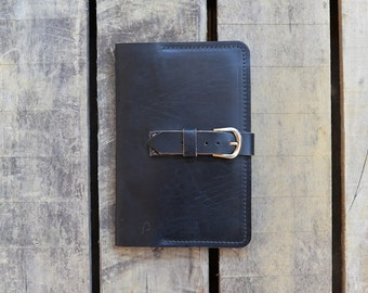 """Large Black Leather Refillable Journal Notebook Cover, Horween Chromexcel,  Moleskine 5""""x8.25"""""""