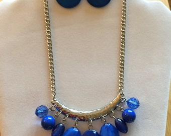 Blue Statement Necklace and Earrings