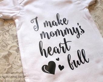 I Make Mommy's Heart Full Baby Onesie - BodySuit - Unisex - Short-Sleeve - Newborn to 24 Months