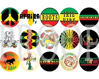 Digital Bottle Cap Image Sheet - Reggae - 1 Inch Digital Collage - Instant Download