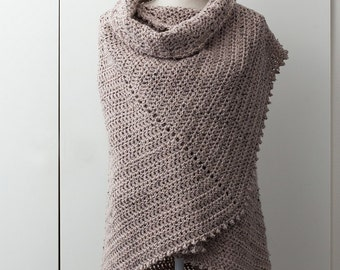 Brown shawl in fan shape