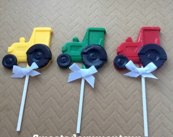 TRACTOR Chocolate Pops(12)-Construction  Party, Truck Favors, Farm party