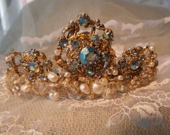 Vintage necklace tiara, pearls, crystals