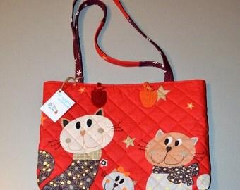 Handmade bag Cats, diaper bag Cats, cotton, cotton-lined, handbag