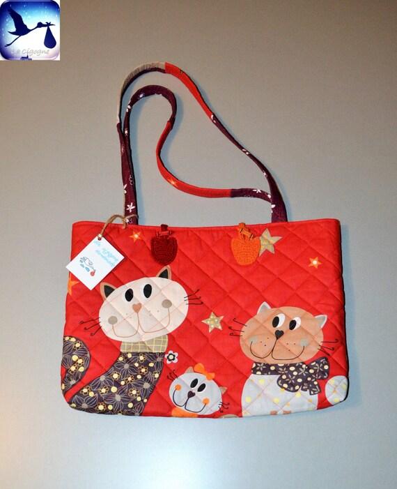 Handmade Diaper Bags : Handmade bag cats diaper cotton lined