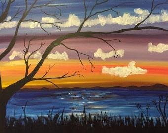 Tree at Sunset 16x20 Acrylic Painting