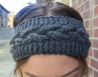 Cable Knit Headband, Knit Turban, Cable Ear Warmer, Knit Hat, Handmade, Winter Accessories, Gray Headband