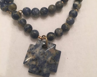 Blue Sodalite Cross Necklace