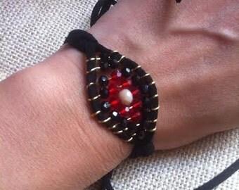 bracelet eye hand made suede string