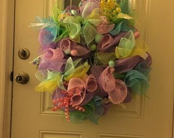 Festive Easter Deco mesh wreath