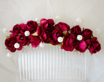 Marsala hairpiece bordeaux headpiece wedding hairpiece flower hair comb bridal accessories vintage flower comb bridal party hairpiece