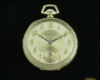 14kt White Gold Waltham Pocket Watch