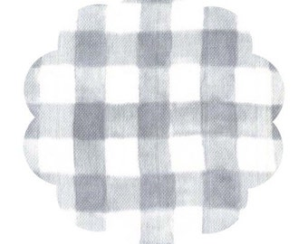 Mini painted gingham in gray. Baby gauze DIY sewing fabric. Apparel and quilt gauze fabric supply.  Checkered baby sewing gauze fabric.