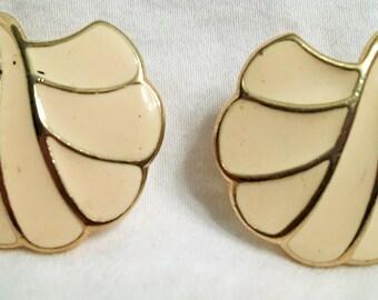 Trifari Vintage Gold and Cream Earrings