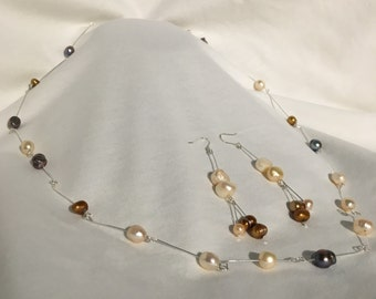 Multi-color Pearl and Silver Earring and Necklace Set