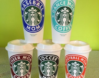 Cheer, Dance, Baseball, Football, Soccer Mom Personalized & Customized Starbucks Cup