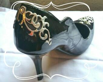 Pewter and gem stone decorated stilettos