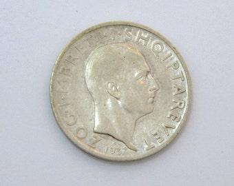 1937R Albania Frang Ar silver coin