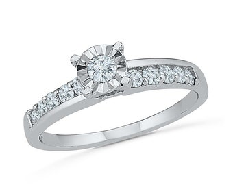 1/2 CT. T.W. Diamond Engagement Ring, Solitaire Ring in White Gold or Sterling Silver