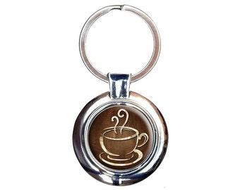Coffee Cup Keychain Key Ring