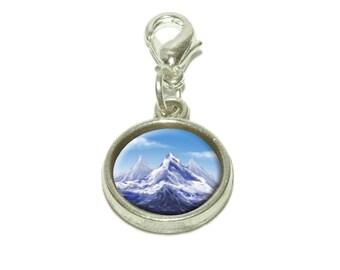 Snowy Mountain Peak Dangling Bracelet Pendant Charm